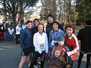 The running crew at the finish line.
