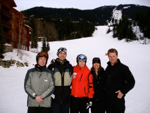 The Crew post ski/shooting on the Dave Murray run with Julia and her mom (world champion freestyle skier) Stephanie